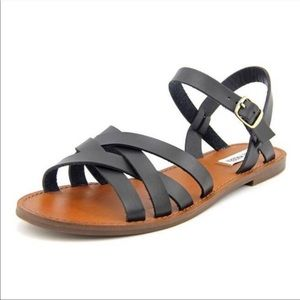 Steve Madden Black Leather Sweeti Strappy Sandals